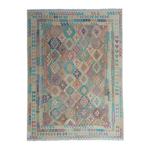 exclusive  Vloerkleed Tapijt Kelim 344x262 cm Multicolor Kleed Hand Geweven Kilim