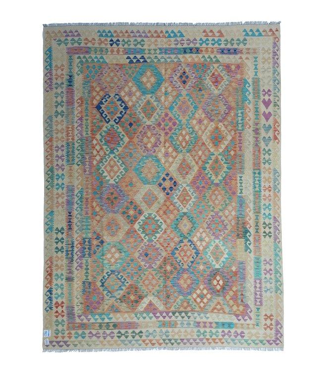 exclusive  Vloerkleed Tapijt Kelim 344x262 cm Multicolor Kleed Hand Geweven Kilim