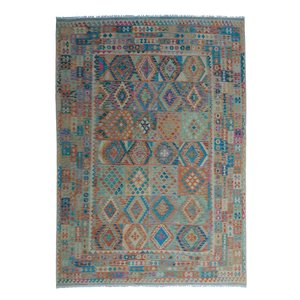 exclusive  Vloerkleed Tapijt Kelim 349x249 cm Multicolor Kleed Hand Geweven Kilim