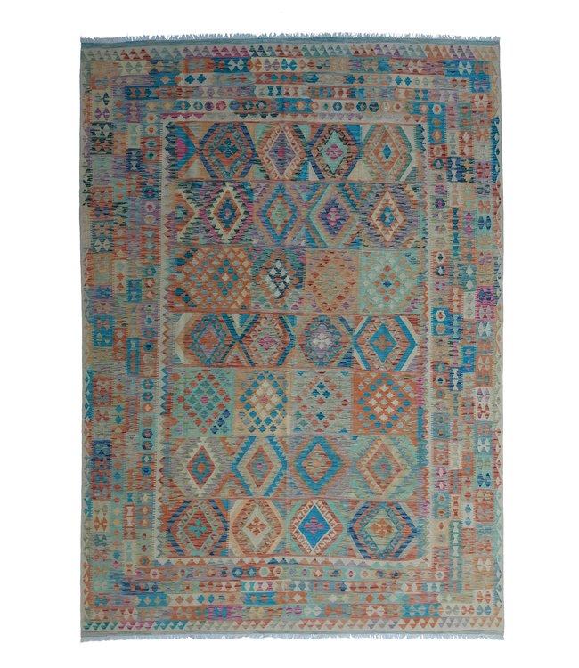 exclusive  Vloerkleed Tapijt Kelim 349x249 cm Multicolor Kleed Hand Geweven Kilim