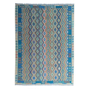 exclusive  Vloerkleed Tapijt Kelim 364x264 cm Multicolor Kleed Hand Geweven Kilim