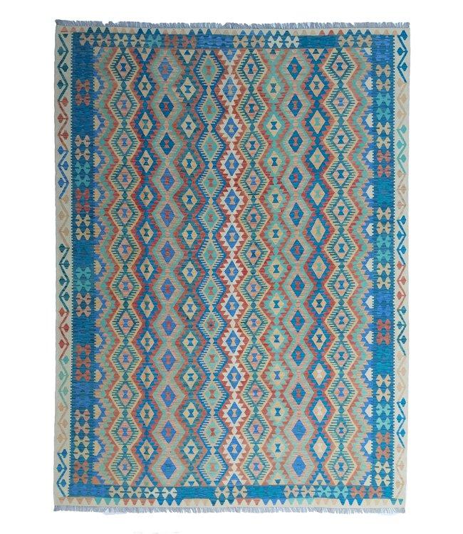 exclusive  Vloerkleed Tapijt Kelim 364x264 cm Multicolor Kleed Hand Geweven Kilim