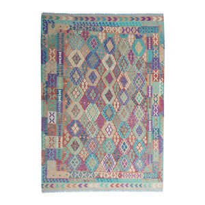 exclusive  Vloerkleed Tapijt Kelim 356x258 cm Multicolor Kleed Hand Geweven Kilim