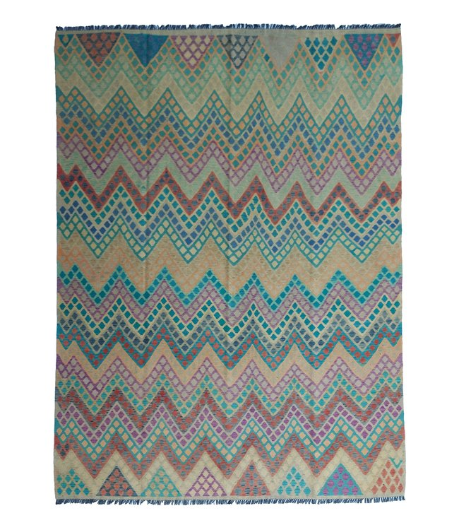 exclusive  Vloerkleed Tapijt Kelim 335x249 cm Multicolor Kleed Hand Geweven Kilim