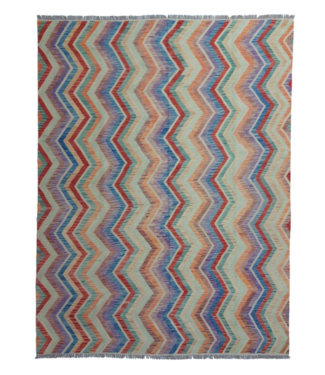 exclusive  Vloerkleed Tapijt Kelim 353x269 cm Multicolor Kleed Hand Geweven Kilim