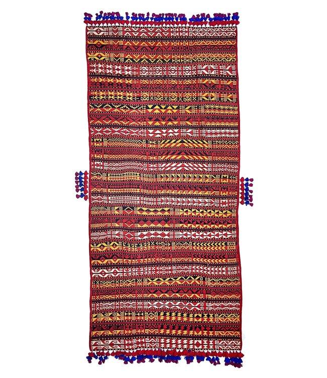 exclusive  Vloerkleed Tapijt Kelim 338x161 cm Multicolor Kleed Hand Geweven Kilim