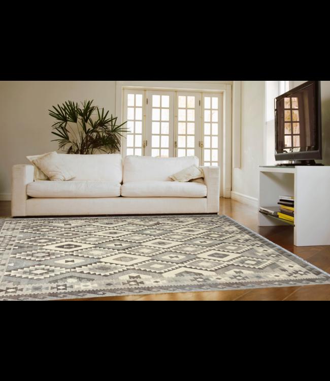 9'68x6'76 Hand Woven Brown Wool Kilim Area Rug