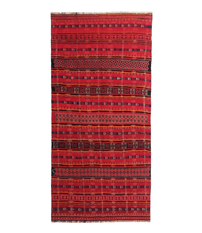 exclusive  Vloerkleed Tapijt Kelim 360x171 cm Multicolor Kleed Hand Geweven Kilim