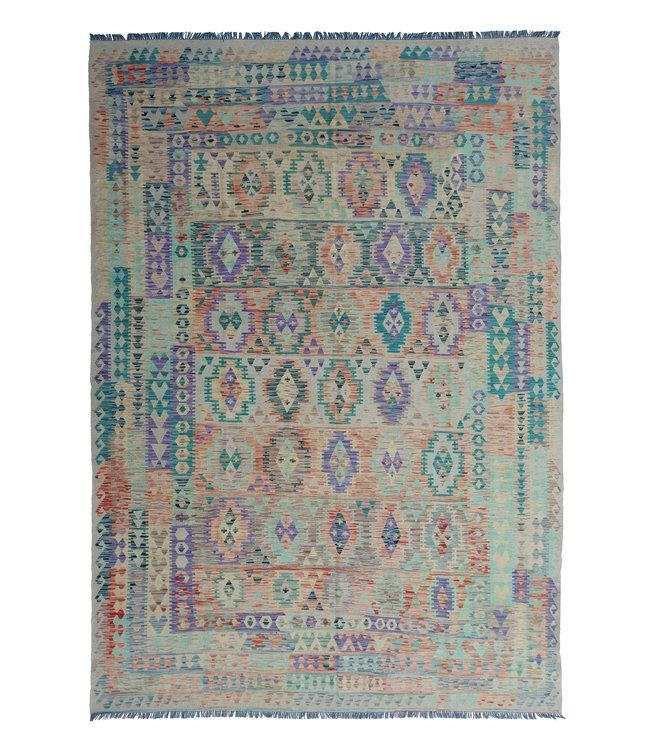 exclusive  Vloerkleed Tapijt Kelim 367x270 cm Multicolor Kleed Hand Geweven Kilim