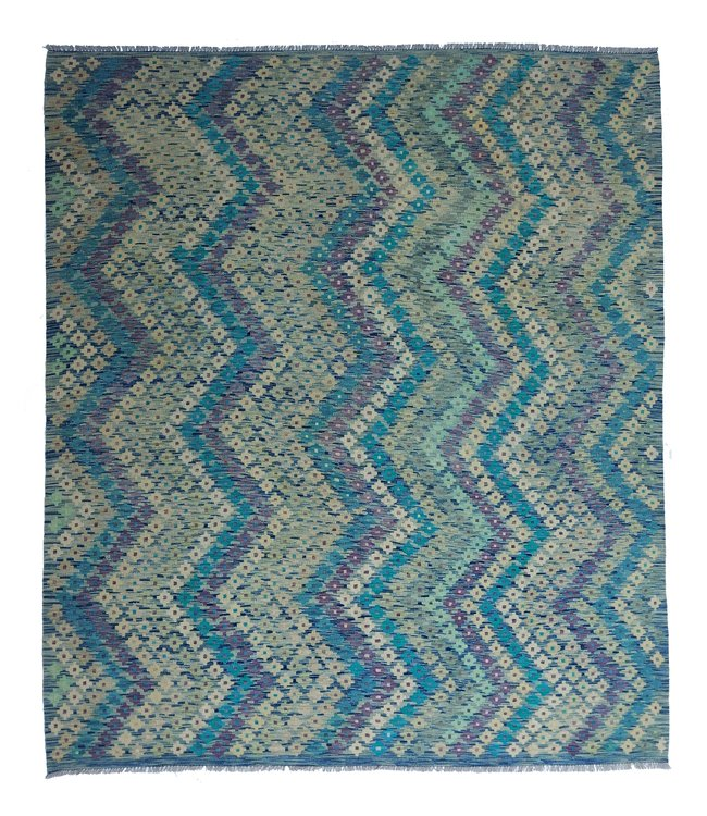 exclusive  Vloerkleed Tapijt Kelim 300x257 cm Multicolor Kleed Hand Geweven Kilim