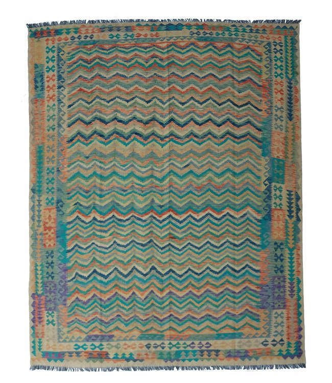 exclusive  Vloerkleed Tapijt Kelim 300x242 cm Multicolor Kleed Hand Geweven Kilim