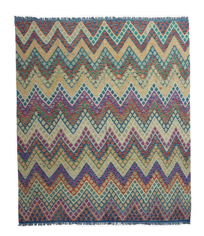exclusive  Vloerkleed Tapijt Kelim 293x254 cm Multicolor Modern Kleed Hand Geweven Kilim
