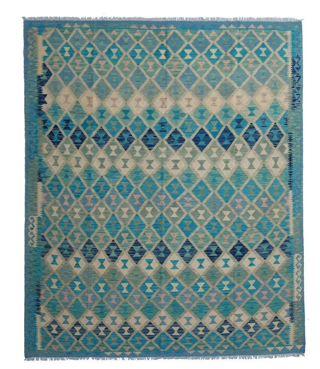 exclusive  Vloerkleed Tapijt Kelim 294x240 cm Multicolor Kleed Hand Geweven Kilim