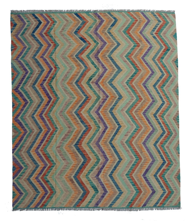 exclusive  Vloerkleed Tapijt Kelim 298x248 cm Multicolor Kleed Hand Geweven Kilim