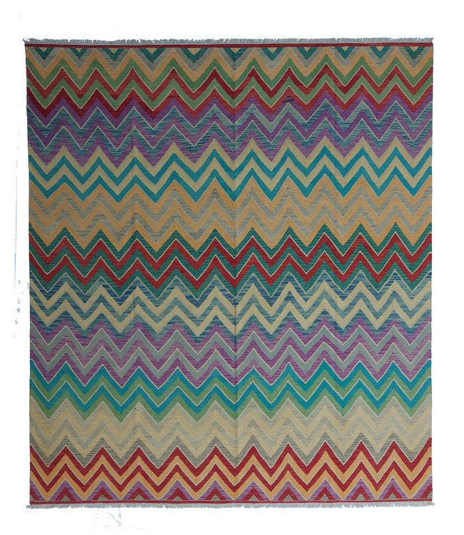 exclusive  Vloerkleed Tapijt Kelim 295x258 cm Multicolor Kleed Hand Geweven Kilim