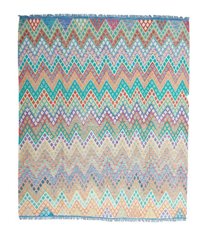 exclusive  Vloerkleed Tapijt Kelim 298x258 cm Multicolor Kleed Hand Geweven Kilim