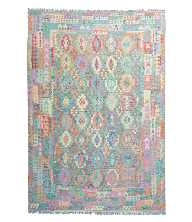exclusive  Vloerkleed Tapijt Kelim 374x268 cm Multicolor Kleed Hand Geweven Kilim