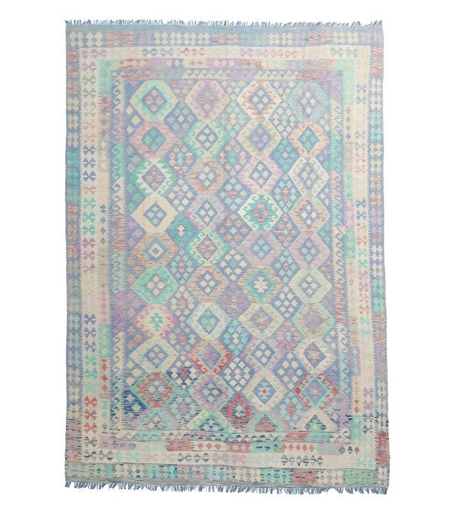 exclusive  Vloerkleed Tapijt Kelim 353x245  cm Multicolor Kleed Hand Geweven Kilim