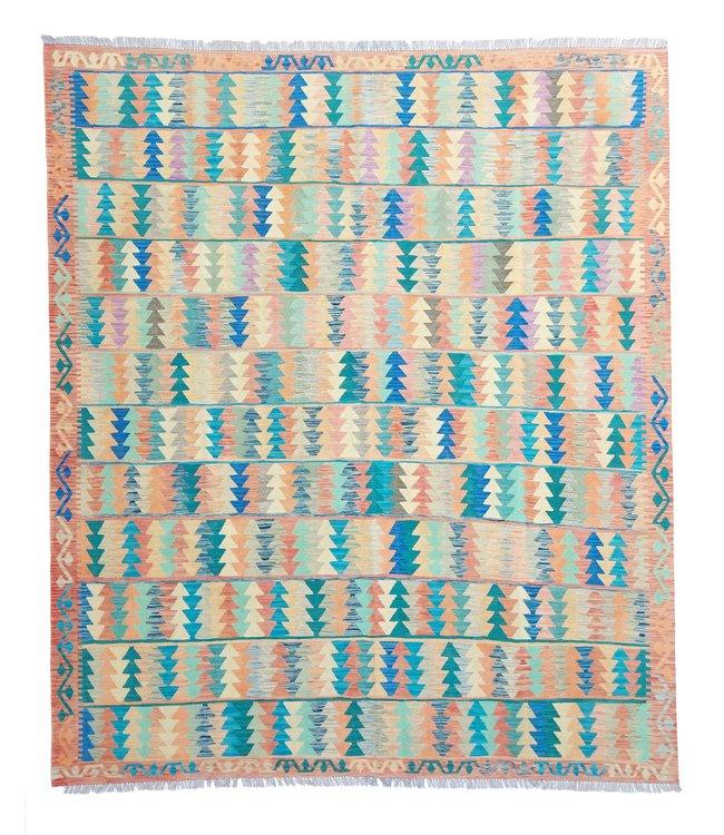exclusive  Vloerkleed Tapijt Kelim 303x261 cm Multicolor Kleed Hand Geweven Kilim