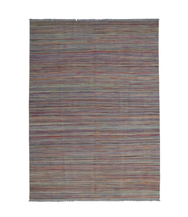 Kelim kleed-244X172cm  streep  Multicolor Kleed Hand Geweven