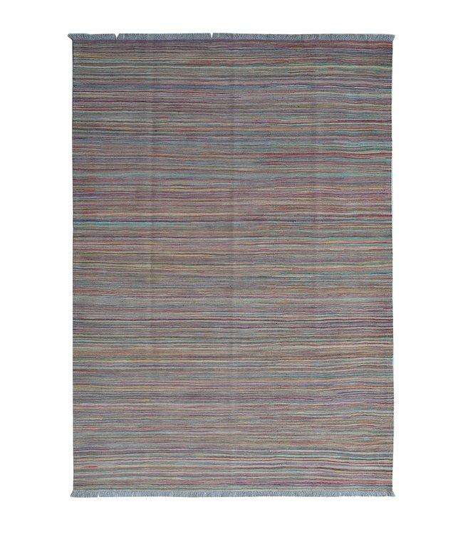 Kelim kleed-251X172cm streep  Multicolor Kleed Hand Geweven