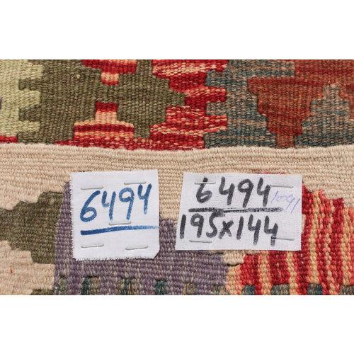 195x144  cm Handgemacht afghanisch traditionell Wolle Kelim Teppich