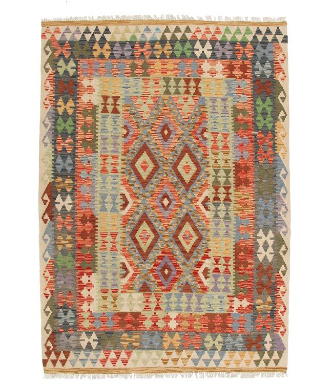 195x144  cm Handgeweven Traditioneel Afghaans Kelim Kleed Wol Tapijt
