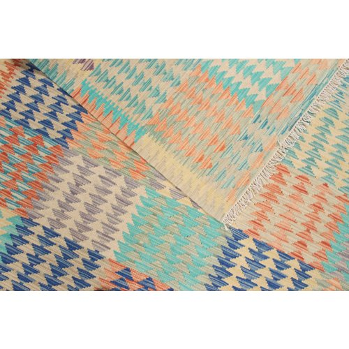 198x157 cm Handgemachter afghanischer Kelim Teppich mehrfarbige Wolle