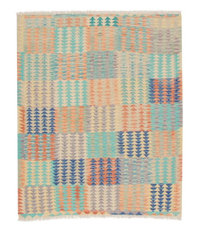 198x157 cm Handgeweven Afghaans Kelim Tapijt Multicolor Wol Kleed