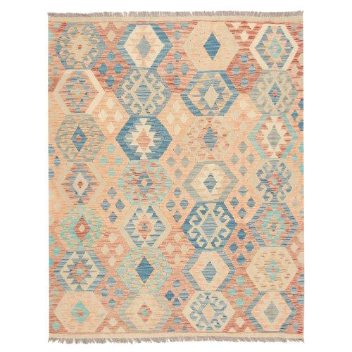 196x154 cm Handgemacht afghanisch traditionell Wolle Kelim Teppich