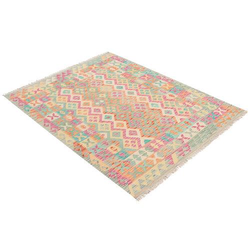 196x148 cm Handgemacht afghanisch traditionell Wolle Kelim Teppich