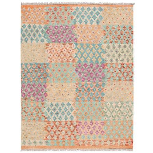 203x157 cm Handgemacht afghanisch traditionell Wolle Kelim Teppich