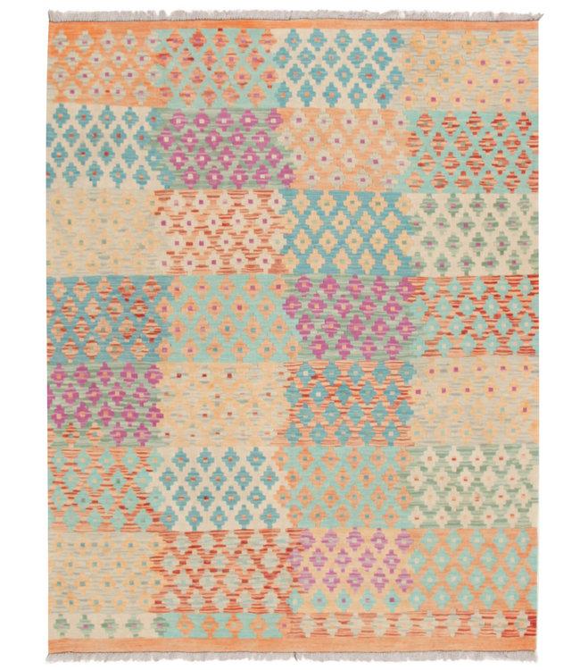 203x157 cm Handgeweven Traditioneel Afghaans Kelim Kleed Wol Tapijt