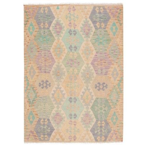 204x150 cm Handgemacht afghanisch traditionell Wolle Kelim Teppich