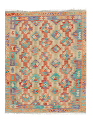 190x154  cm Handgemacht afghanisch Wolle Kelim Orientteppich