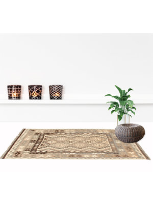 200x135 cm Handgewebter afghanischer Kelim Teppich Braun Wolle