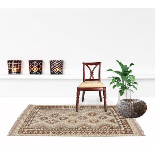 170x128 cm Handgewebt afghanisch Kelim Orientteppich Braun Wolle