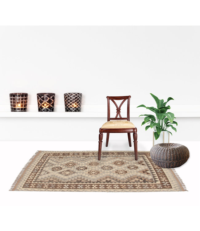 170x128 cm Handmade Afghan Kilim Area Rug Neutral Color Wool Carpet