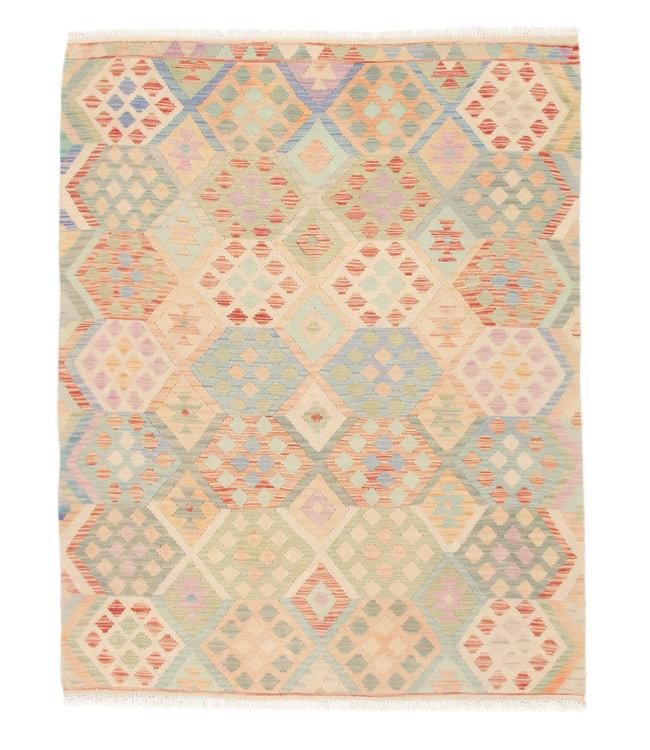 194x152 cm Handgemaakt Oosters Kelim Wol Vloerkleed