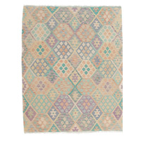 201x153 cm Handgemacht Wolle Kelim Orientteppich