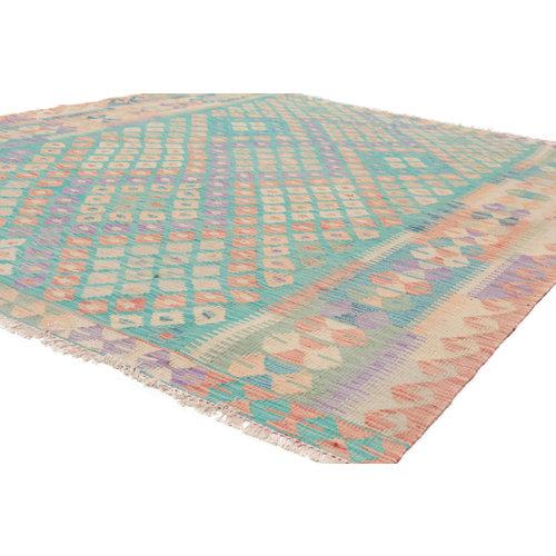 196x165 cm Handgemacht Wolle Kelim Teppich Orientteppich
