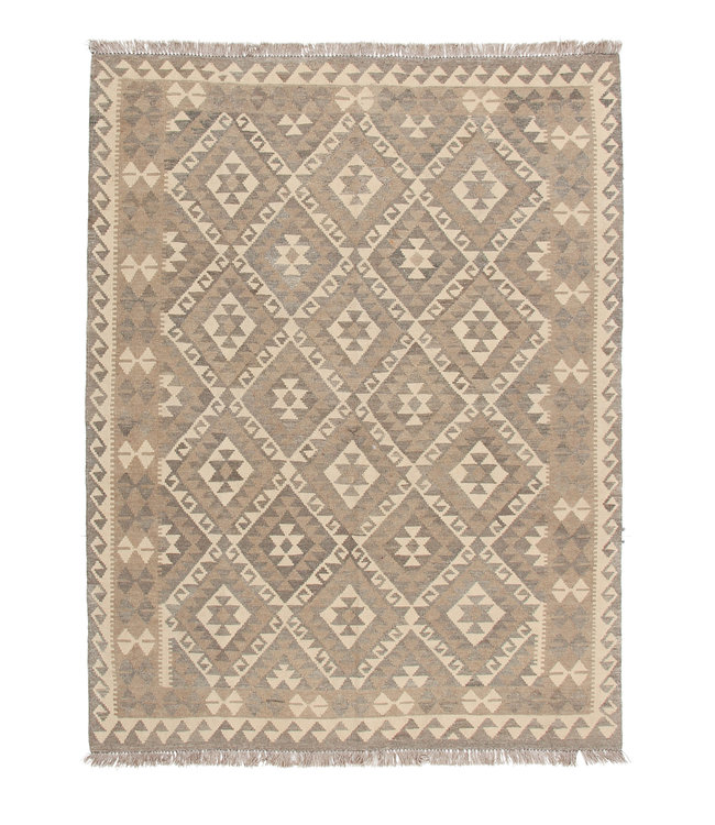 197x150 cm Handgemaakt Wollen Kelim Tapijt Neutrale Kleur Vloerkleed