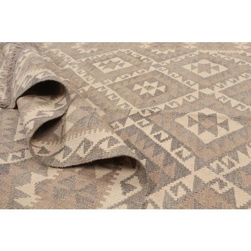 197x150 cm Handgewebt afghanisch Kelim Orientteppich Braun Wolle