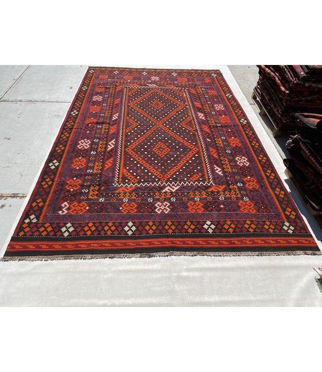 412x273 cm Handgemaakt Wollen Kelim Tapijt Oranje Kleur Vloerkleed