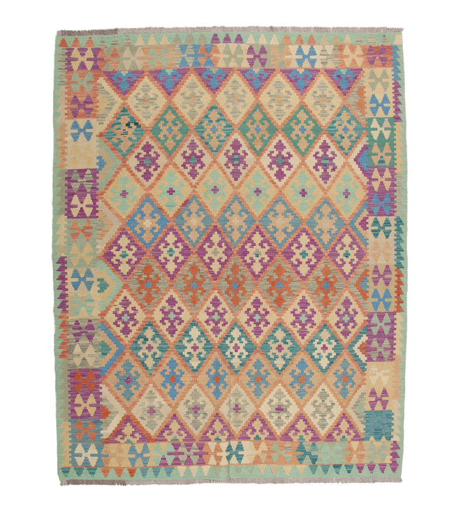 241x184 cm Handmade Afghan Kilim Area Rug Wool Carpet