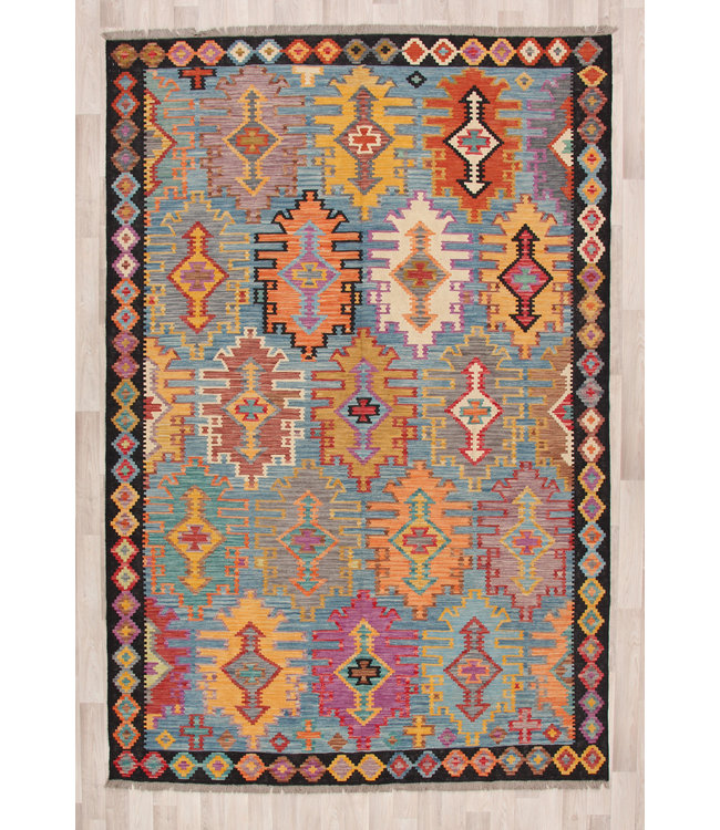 302x200 cm Handmade Afghan Kilim Area Rug Wool Carpet