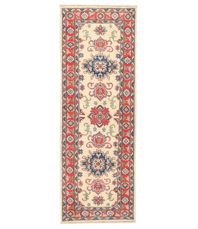 188x65 cm Handgeknoopt Kazak Vloerkleed Wollen Loper Tapijt