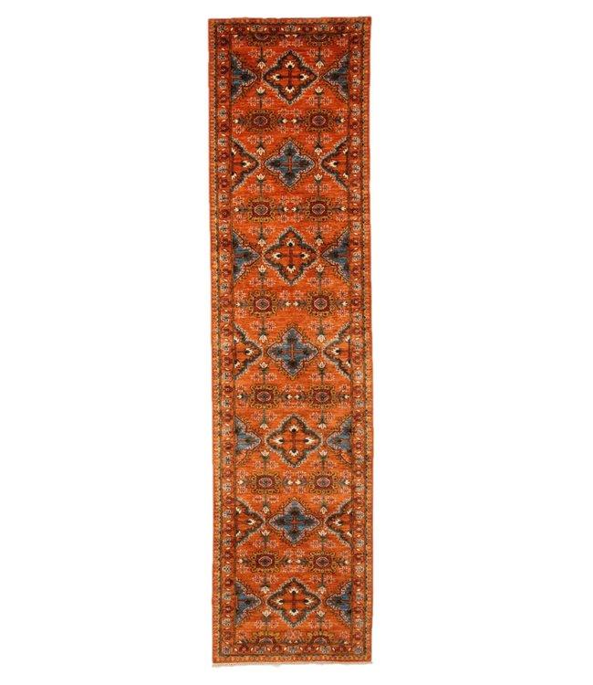 387x93 cm Handgeknoopt Kazak Vloerkleed Wollen Loper Tapijt
