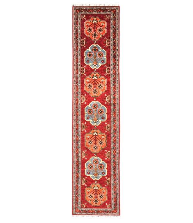 411x93 cm Handgeknoopt Kazak Vloerkleed Wollen Loper Tapijt