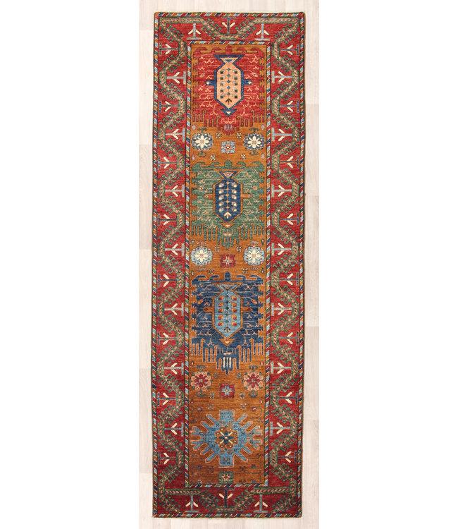 273x81 cm Handgeknoopt Kazak Vloerkleed Wollen Loper Tapijt